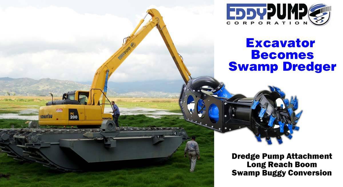 Amphibious Excavator Dredger - Marsh Buggy - EDDY Pump