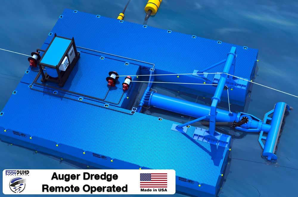 Auger Dredge Floating Barge - Top View