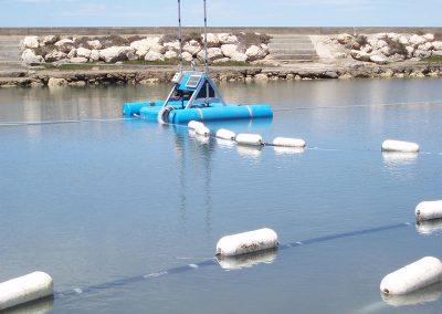 lagoon dredging equipment in lagoon