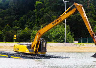 eddy pump pontoon swamp excavator long boom