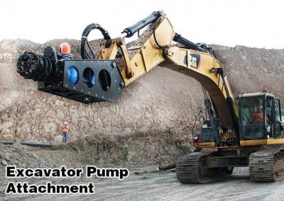 Excavator mounted pump attachment dredge on Cat