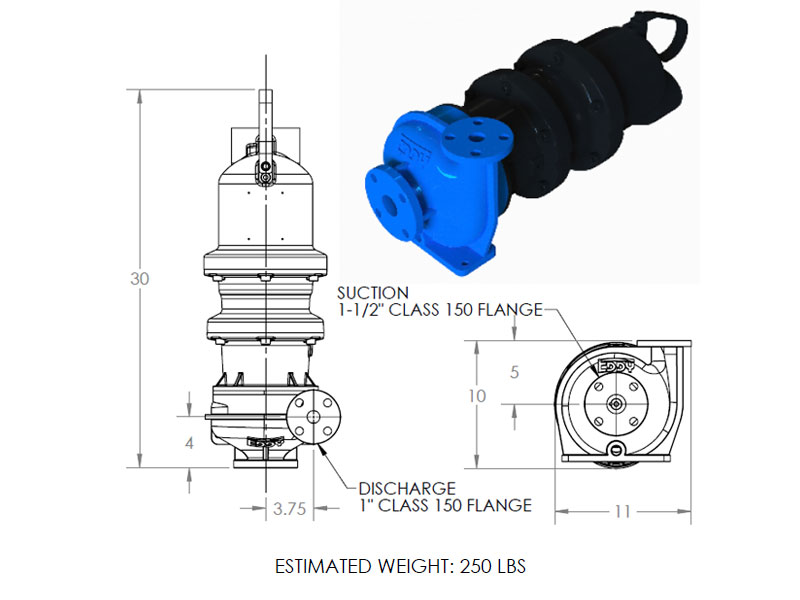 hd 1000 pump weights and dimensions