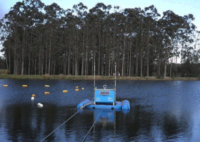 lagoon dredge equipment operating within wastewater