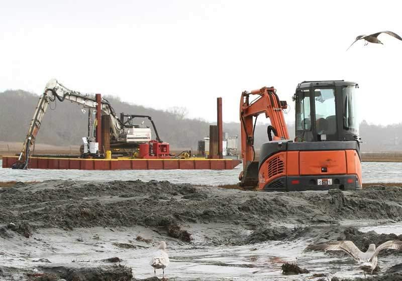 Excavator Dredge Pump Attachment - Marsh Restoration