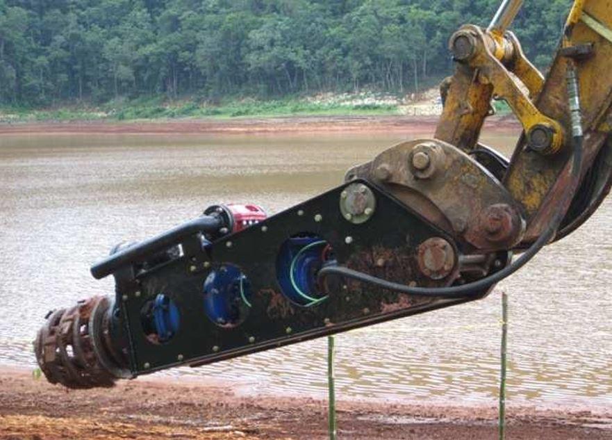 self priming slurry pump with eddy pump excavator attachment